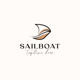Lineart segelboot monoline logo vorlage