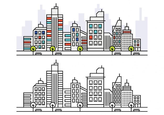Lineart skyline der stadt