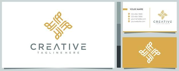 Linie abstraktes logo-konzept mit visitenkartenschablone