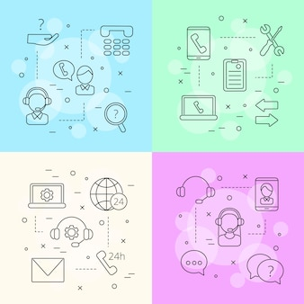 Linie call-support-center-symbole infografik konzept