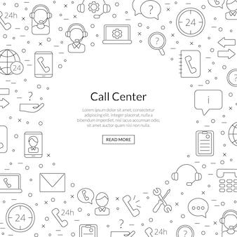 Linie call-support-center-symbole mit platz für text-illustration