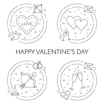 Linie dünne ikonenfahne für valentinstag- und datumsthema des heiligen valentinsgrußes.
