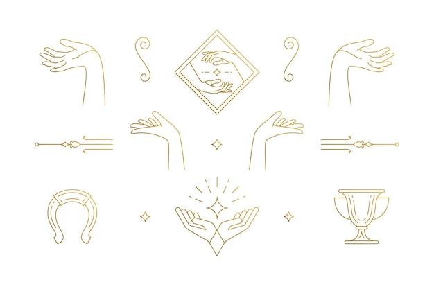 Linie elegante dekoration design-elemente gesetzt - weibliche geste hände illustrationen minimalen linearen stil. sammlung böhmische zarte umrissgrafiken für logo-embleme und produktbranding