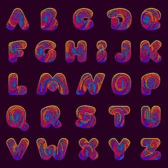 Linie fingerabdruck englisch alphabet buchstaben gesetzt.