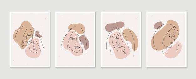 Linie frauenporträtsatz der abstrakten ästhetischen minimalistischen hand gezeichneten zeitgenössischen plakate