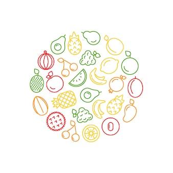 Linie fruchtikonen in der kreisformillustration