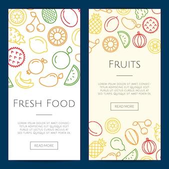 Linie früchte symbole web banner vorlagen illustration