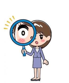 Linie geschäftsfrauenlinse heraus