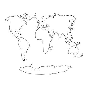Linie gezeichnete weltkarte auf weißem hintergrund lokalisierte vektorillustration. gestaltungselement. ökologie-konzept.
