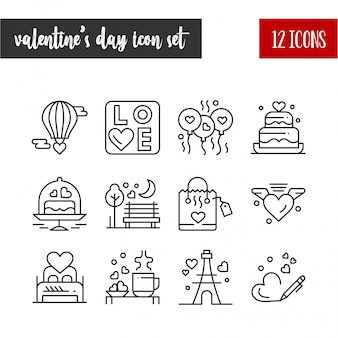 Linie icon-set des valentinsgrußes