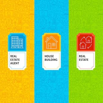 Linie immobilienmuster eingestellt. vektor-illustration des logo-designs. vorlage für die verpackung mit etiketten.
