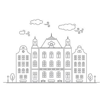 Linie kleine stadt. lineares stadtbild mit alten stadtwohnungen, kleinstadtstraße mit gebäudefassaden zeichnen. grafische lineart hippie-illustration des vektors. altes amsterdam.