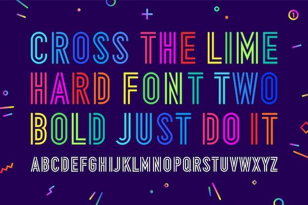 Linie komprimiertes alphabet und schriftart