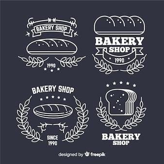 Linie kunst bäckerei logos vorlage
