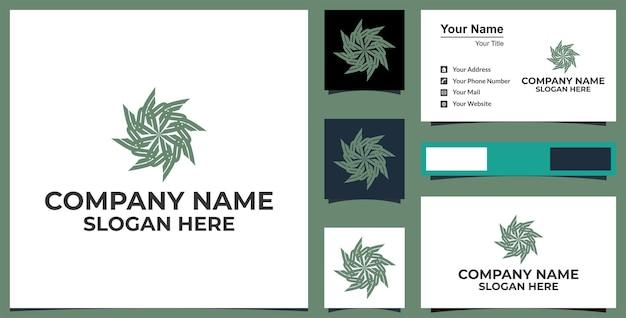 Linie kunst blumensechseck logo und visitenkartendesign premium-vektor