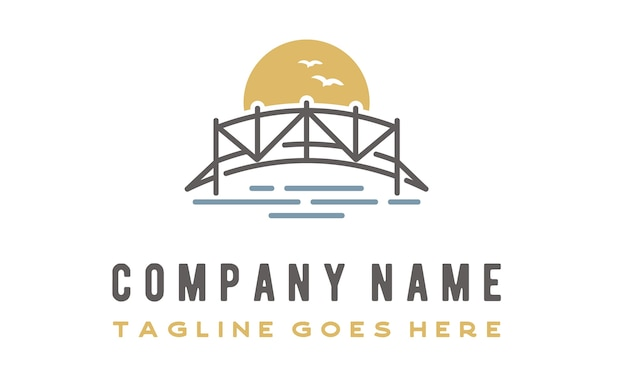Linie kunst bridge logo design Premium Vektoren