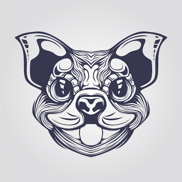 Linie kunst des cihuahua-hundes