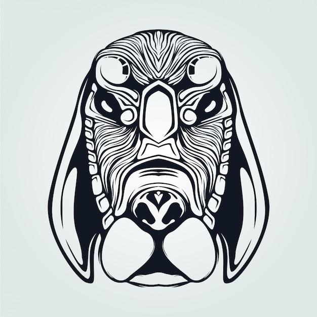 Linie kunst des hundekopfes mit dekorativem gesicht