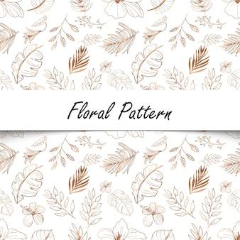 Linie kunst floral nahtlose muster hintergrund