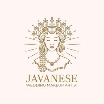 Linie kunst javanischen hochzeit maskenbildner logo