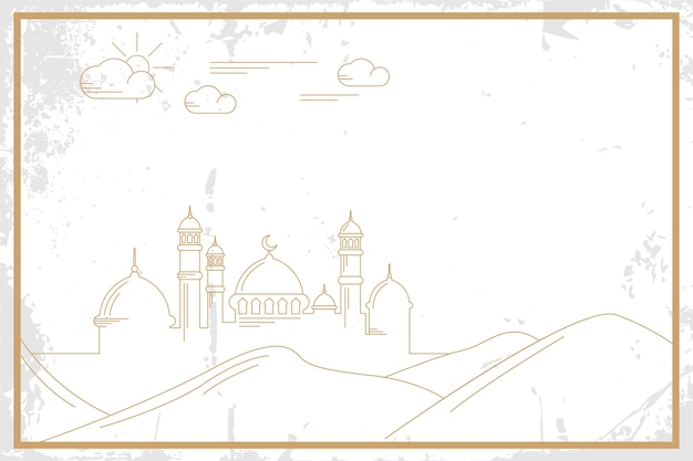 Linie kunst moschee auf grunge hintergrund