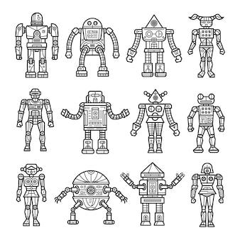 Linie kunst robotersammlung