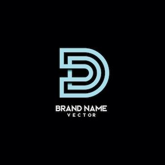 Linie kunst typografie d symbol logo design
