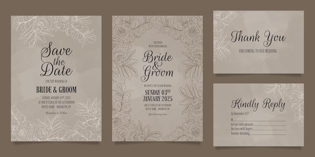 Linie kunstblumenblätter hochzeitseinladungsschablone gesetzt mit abstrakter aquarellrahmendekoration