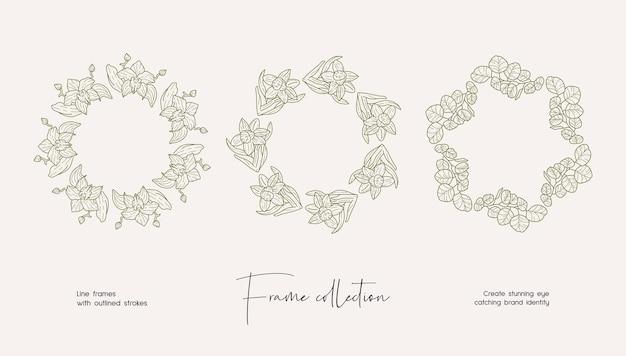 Linie kunstillustrationssammlung von dekorativen vektorrahmen für branding oder logo
