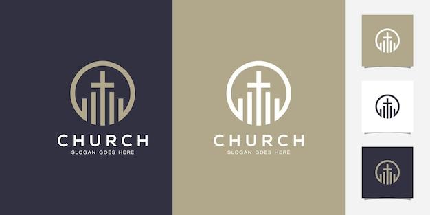 Linie kunstkirche / christliches logo-design