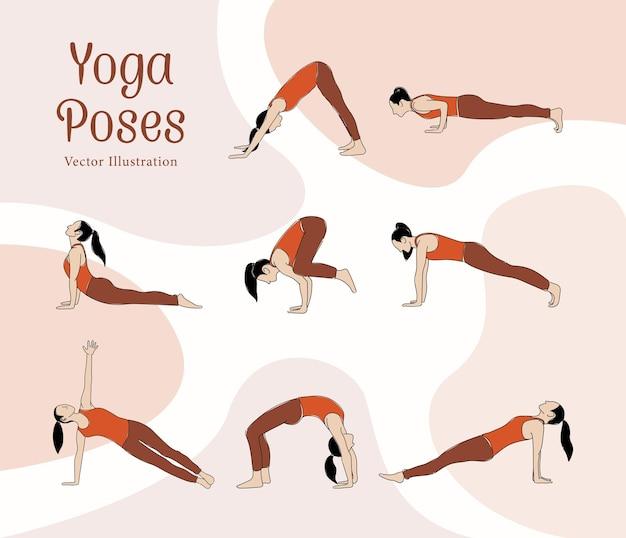 Linie kunststil mit flacher farbvektorillustration von yoga-posen