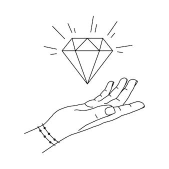 Linie leuchtender diamant in der hand der frau Premium Vektoren