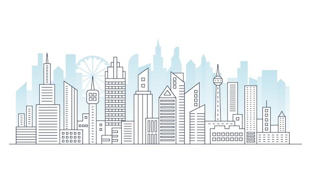 Linie modernes städtisches großstadtpanorama mit farbgebäude auf hintergrund