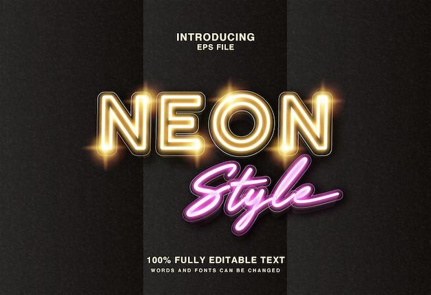 Linie neon d textstil-effekt