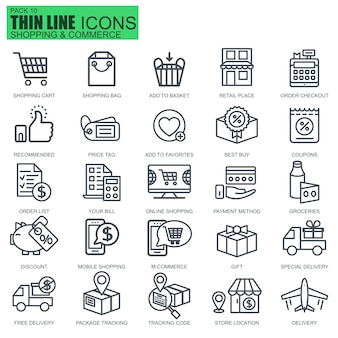 Linie online-shopping und e-commerce-symbole