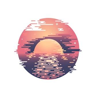 Linie sonnenuntergang und sonnenweg illustration. farbgrafikdruck des sonnigen himmels des sommerabends.