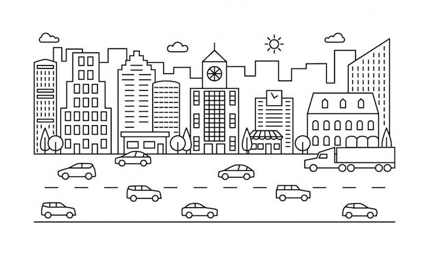 Linie stadtstraße. umreißen sie städtische szene mit gebäuden, straße und autos.