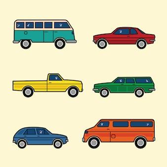 Linie stil farbe autos set