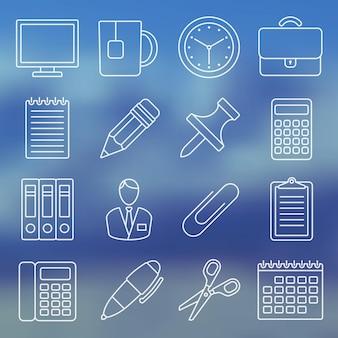 Linie symbolsatz bürobedarf und büroleben in schlichtem design vektor-illustration