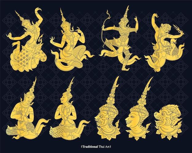 Linie traditionelle thailand-kunst, vektorillustration