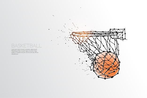 Linie und punkt des basketballschießens