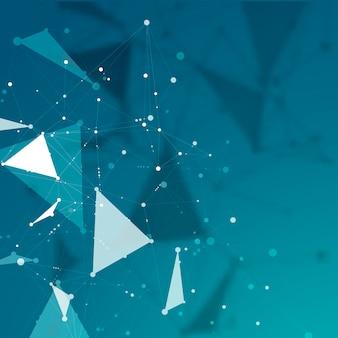 Linie und punkte verbinden. geometrische abstrakte molekülstruktur