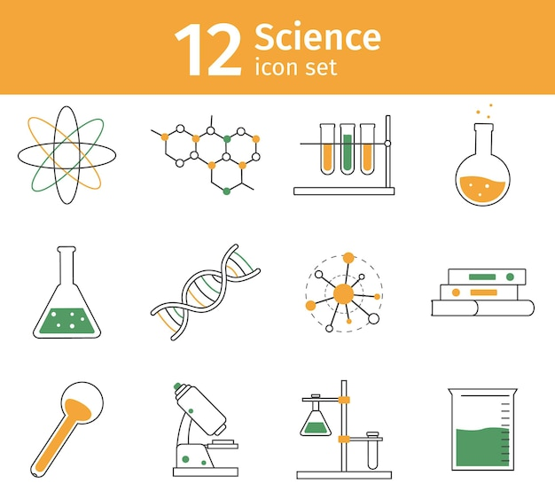 Linie wissenschaft icon-set. chemielaborgeräte als glaswaren. molekül- und dna-modell, mikroskop für experimente