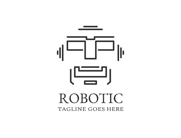 Linien, die ein digitales gesicht bilden, das einem roboter ähnelt, der für das roboter- und mechanikerlogo verwendet wird
