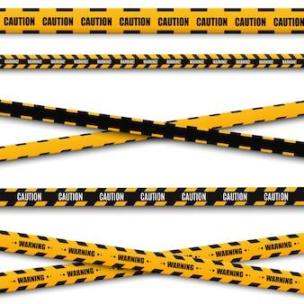Linien isoliert. warnbänder. vorsicht. warnschilder.