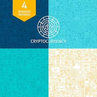 Linien-kryptowährungsmuster. vier vektor-website-design-nahtlose hintergründe. bitcoin-finanzen.
