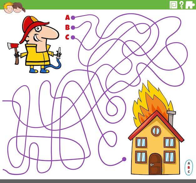 Linien-labyrinth-puzzle-spiel mit cartoon-feuerwehrmann-charakter und brennendem haus