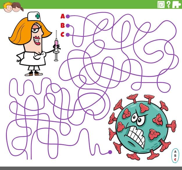 Linien-labyrinth-puzzle-spiel mit cartoon-krankenschwester-charakter mit impfstoff und virus