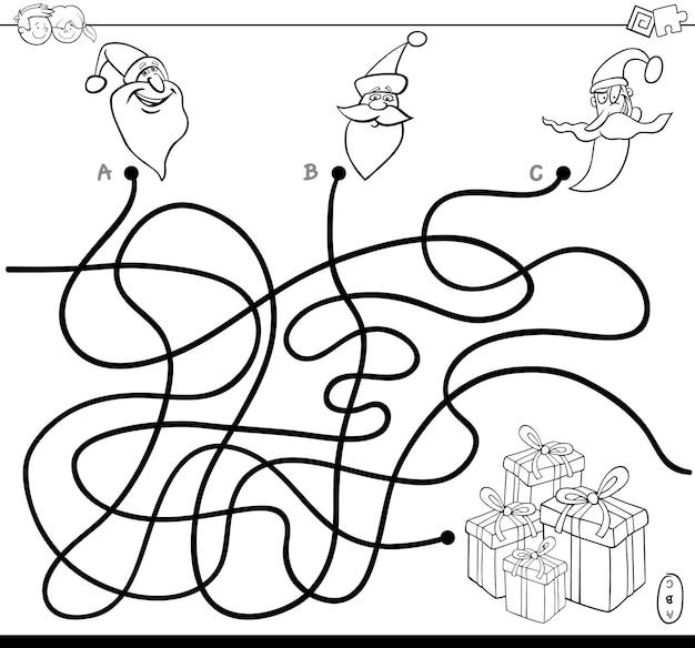 Linien labyrinth puzzle spiel mit weihnachtsfiguren