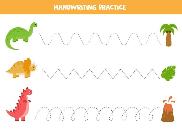 Linien mit niedlichen dinosauriern verfolgen. handschriftpraxis für kinder.